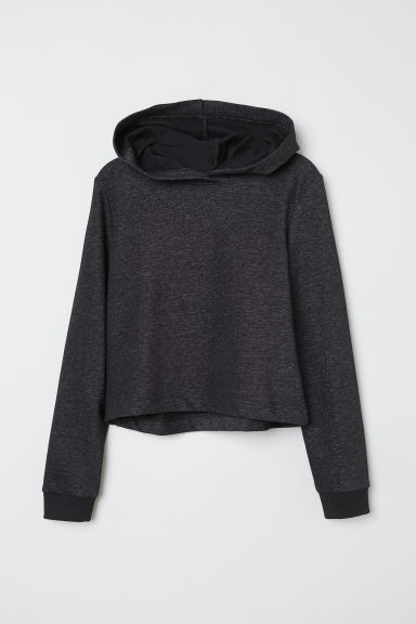Short hooded top - Black marl - Kids | H&M