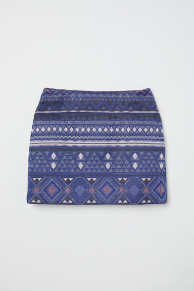 Jacquard-weave skirt - Dark blue/Patterned - Ladies | H&M CN