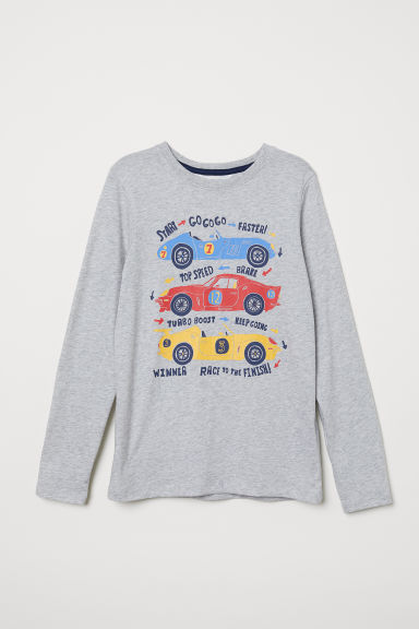 Printed jersey top - Grey marl/Cars - Kids | H&M