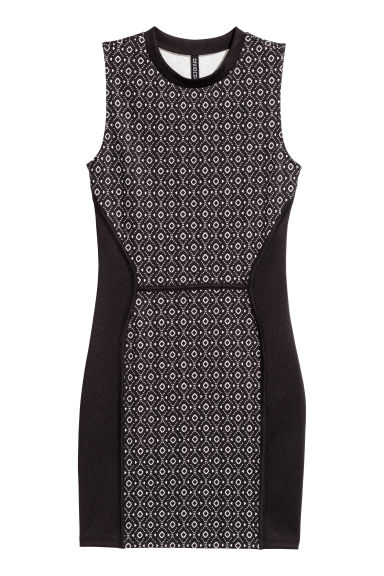 Sleeveless jersey dress - Black/White patterned - Ladies | H&M CN