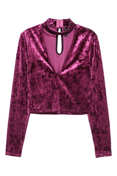 Velour top - Purple - Ladies | H&M CN