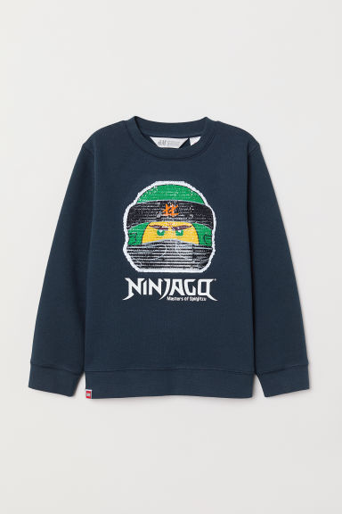 Top with reversible sequins - Dark blue/Ninjago - Kids | H&M