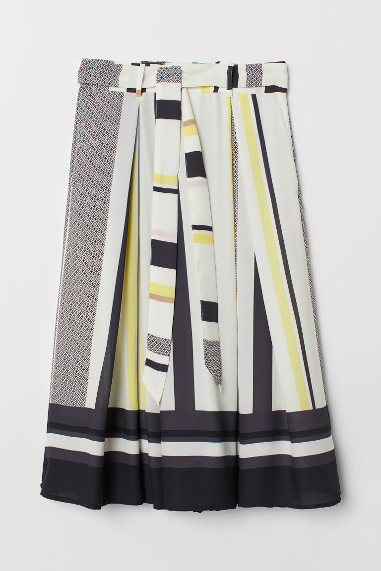 Skirt with a tie belt - Cream/Multicoloured stripes - Ladies | H&M CN