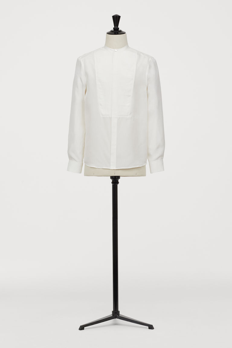 Silk bib shirt - White - Men | H&M GB