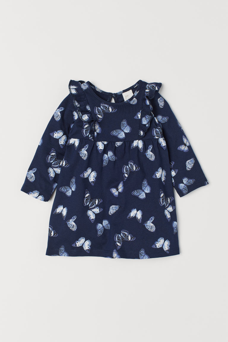 Jersey dress with frills - Dark blue/Butterflies - Kids | H&M CN