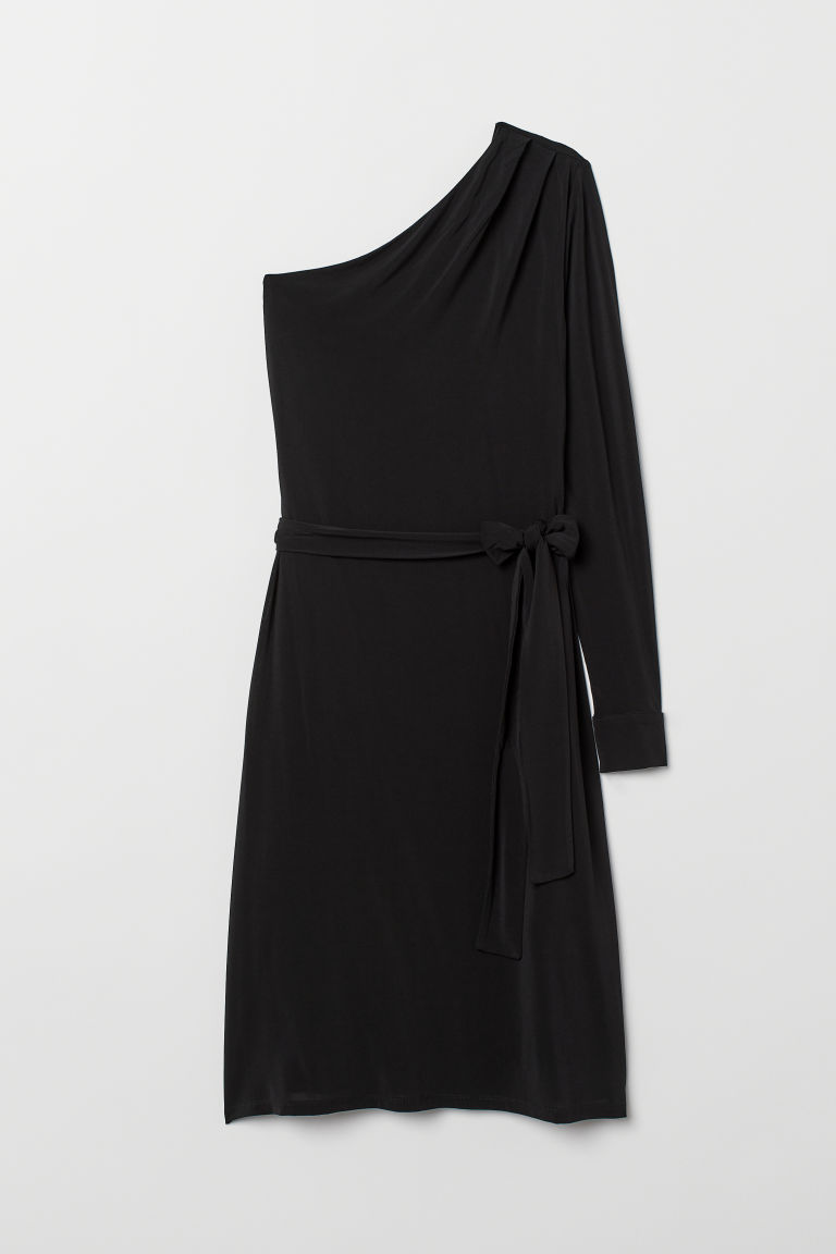 One-shoulder dress - Black -  | H&M CN