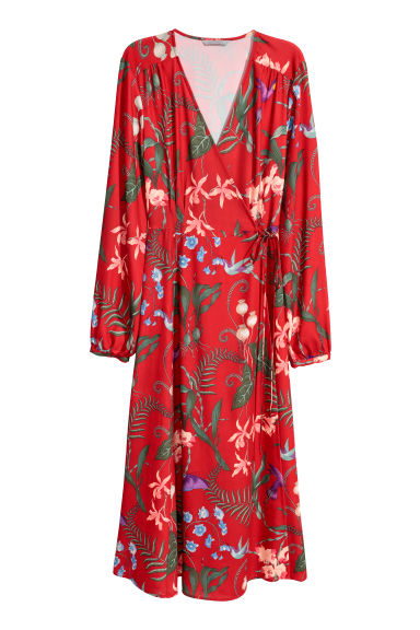 Wrap dress - Red/Floral - Ladies | H&M GB