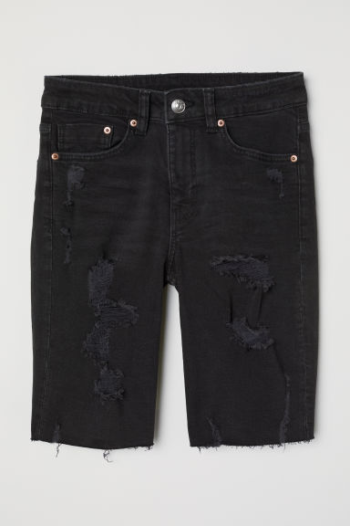 Shorts in jeans al ginocchio - Nero washed out -  | H&M IT