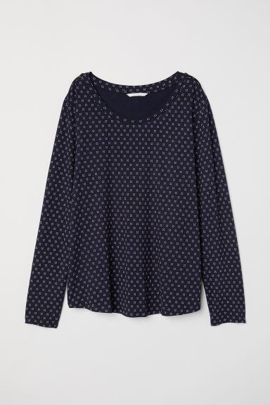 Long-sleeved jersey top - Dark blue - Ladies | H&M CN