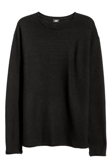 Textured-knit jumper - Black -  | H&M IE