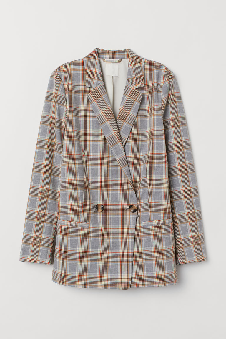 Double-breasted Jacket - Gray-blue/checked - Ladies | H&M US