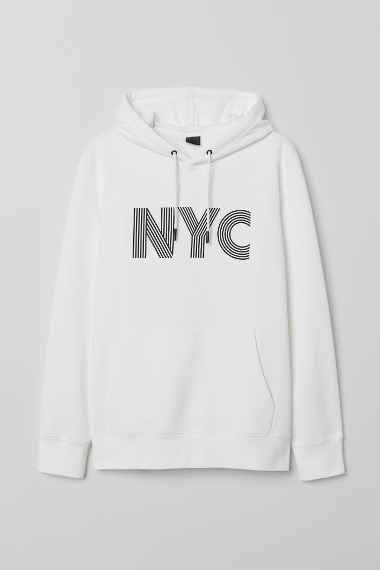 Hooded top with a motif - White/NYC - Men | H&M CN