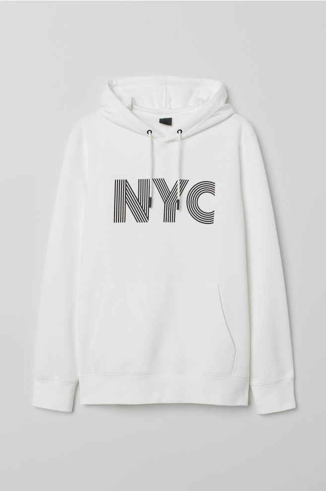 6230dcbba Hooded Sweatshirt with Motif - White/NYC - Men   H&M ...