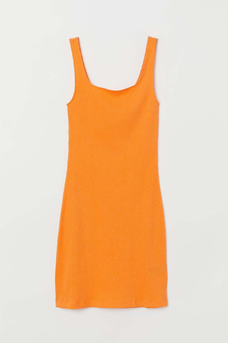 Ribbad trikåklänning - Orange -  | H&M FI