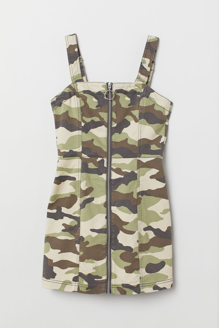 Dungaree dress - Khaki green/Patterned - Ladies | H&M GB