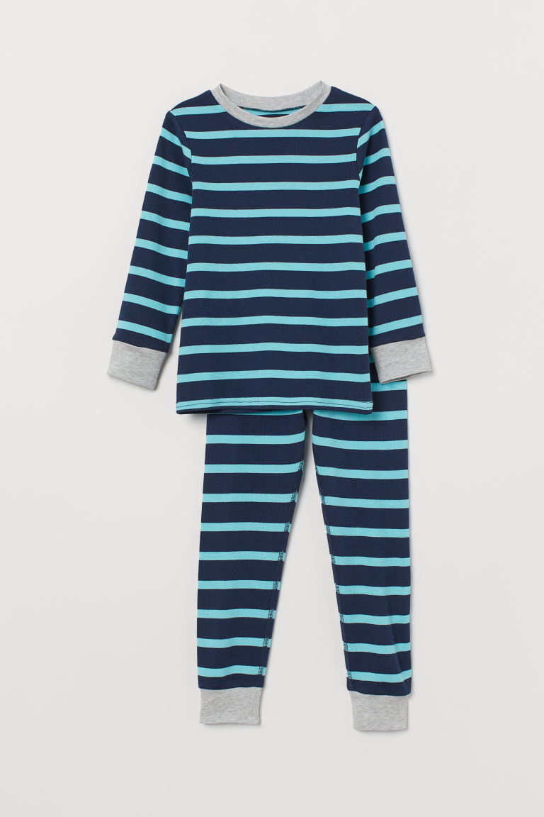 Jersey pyjamas - Dark blue/Turquoise striped - Kids | H&M