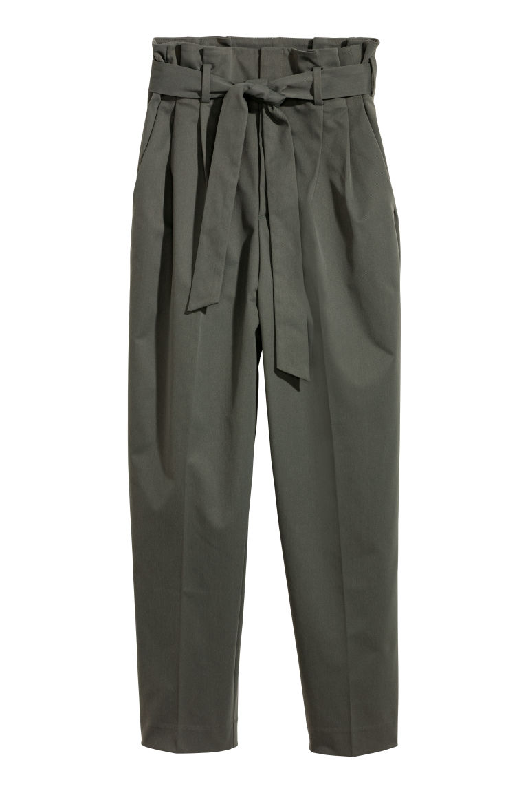 Paper bag trousers - Khaki green - Ladies | H&M CN
