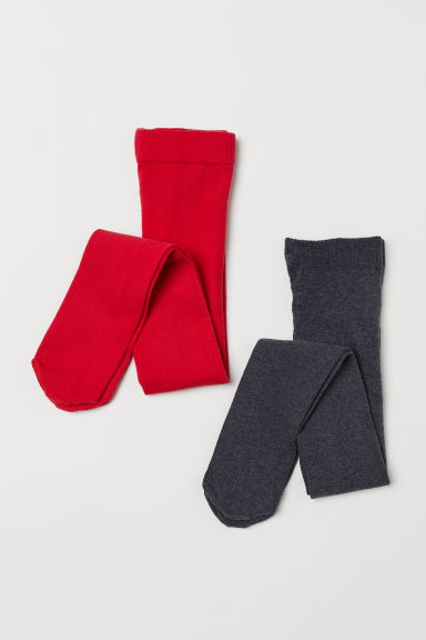 2-pack tights - Red/Dark grey - Kids | H&M