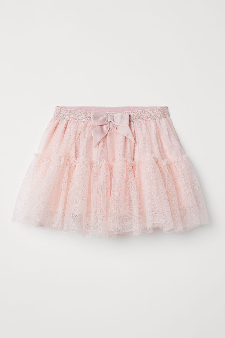 Tulle skirt with a bow - Powder pink - Kids | H&M CN