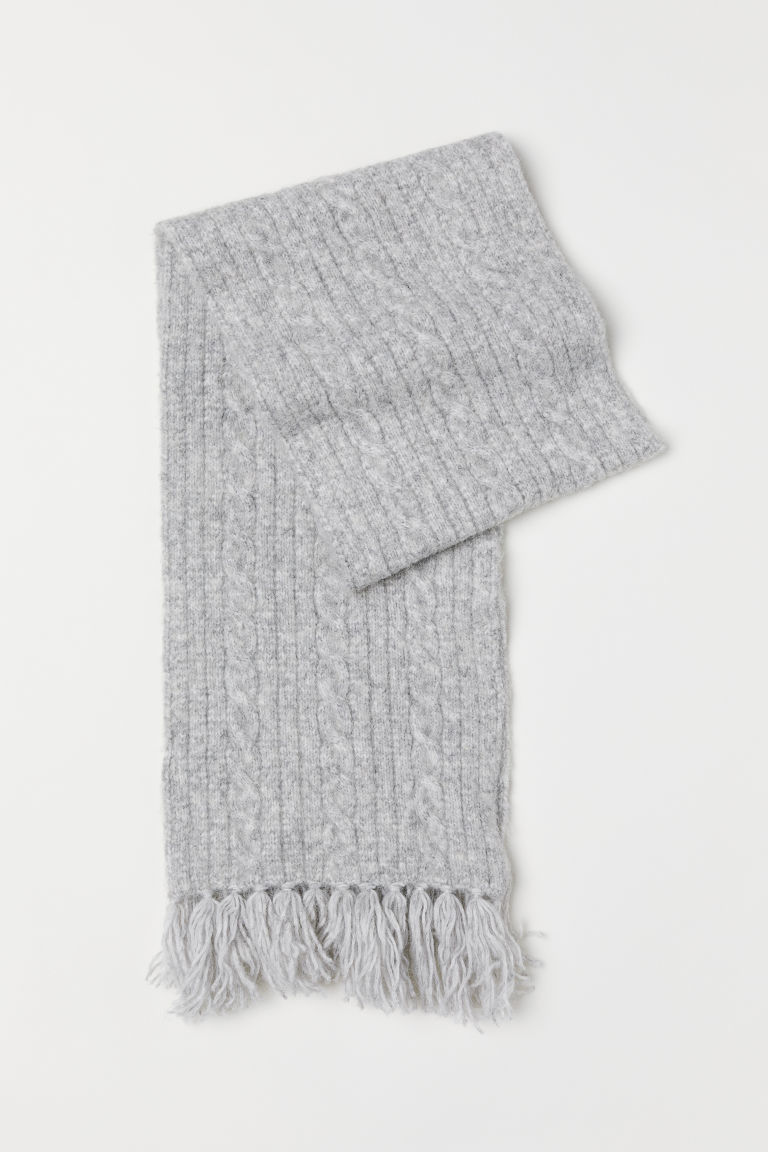 Cable-knit scarf - Light grey marl - Ladies | H&M