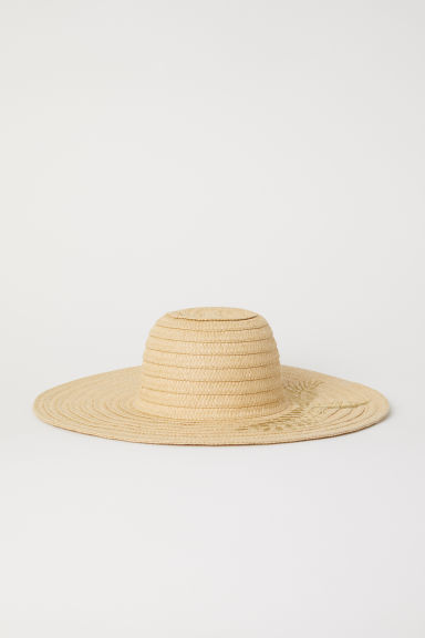 Straw hat with embroidery - Natural -  | H&M CN