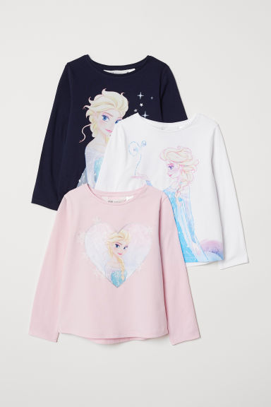 3-pack long-sleeved tops - Light pink/Frozen -  | H&M