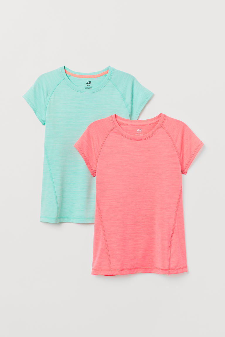 2-pack sports tops - Turquoise/Coral - Kids | H&M CN
