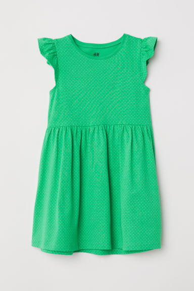 Cotton dress - Bright green/Spotted - Kids | H&M