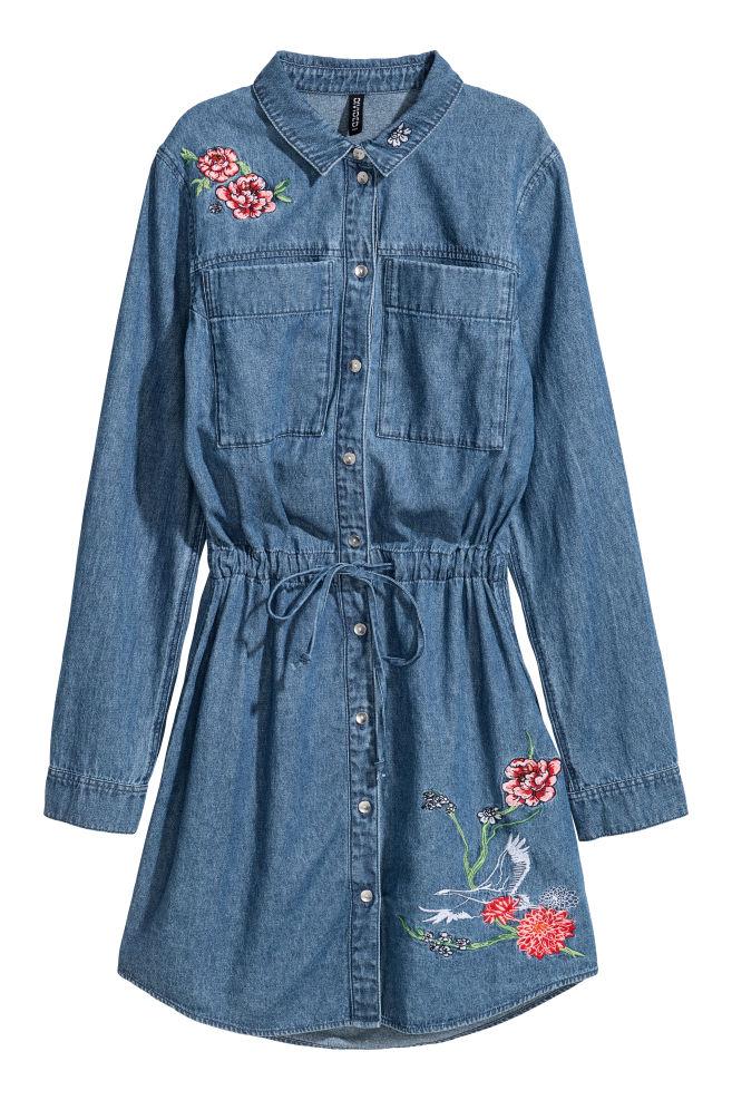 376264216e8a Džínsové šaty s výšivkou - džínsovomodrá -