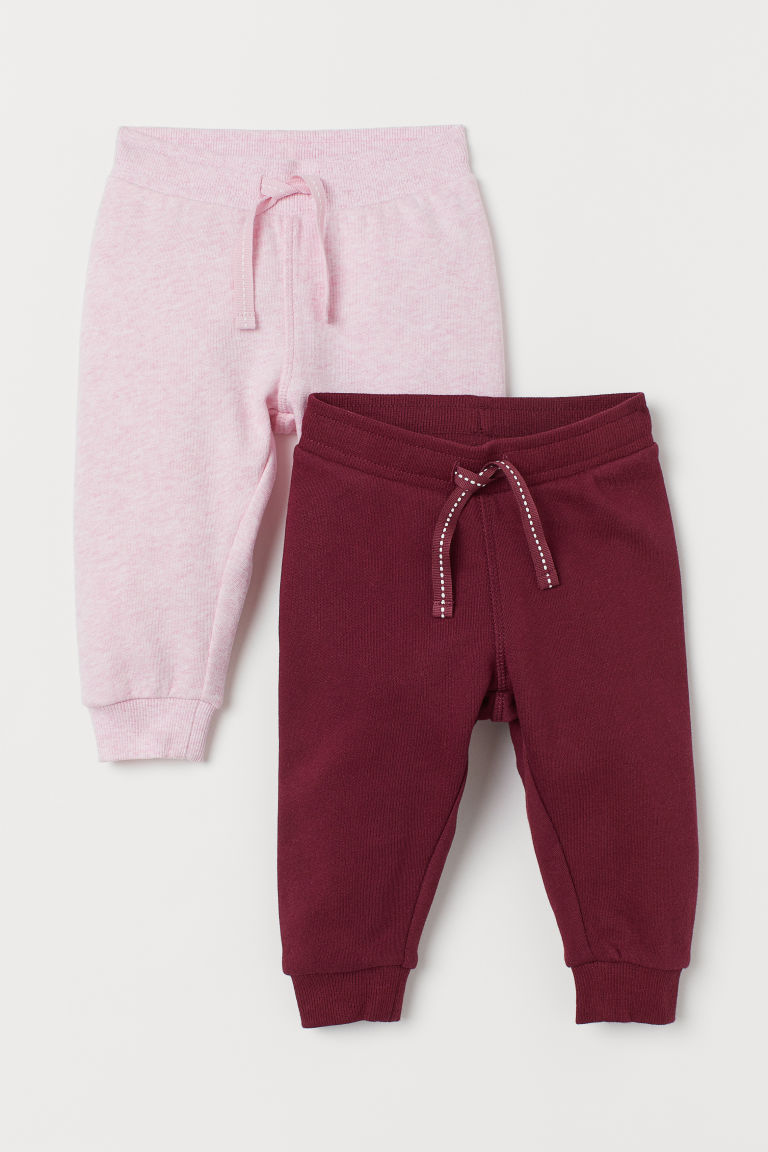 2-pack cotton joggers - Dark red/Pink marl - Kids | H&M