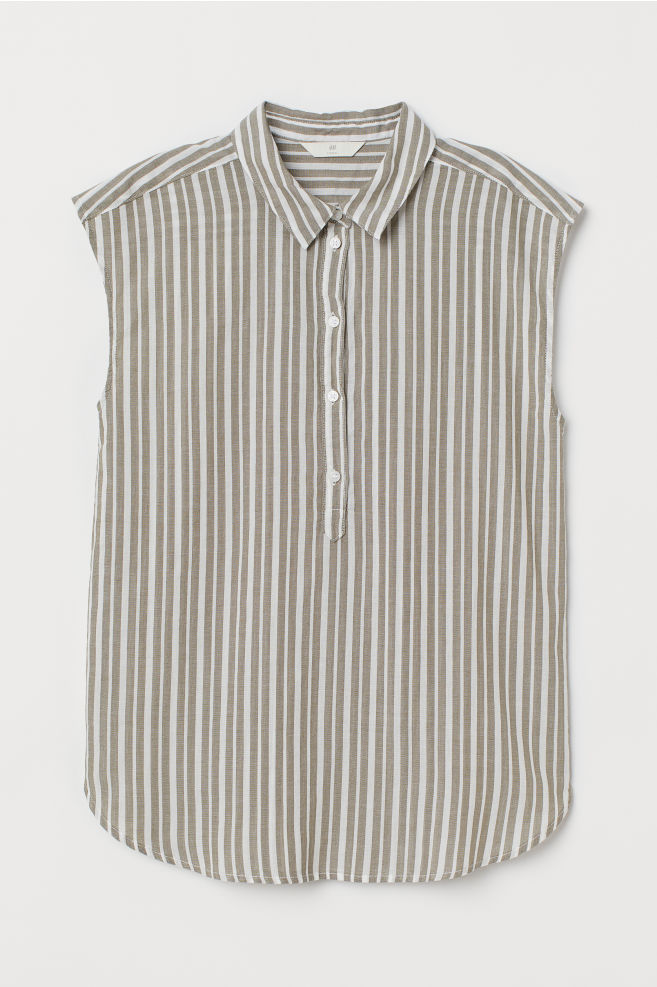 0a476c4c1b74 Cotton blouse - Khaki green/White striped - Ladies | H&M 1