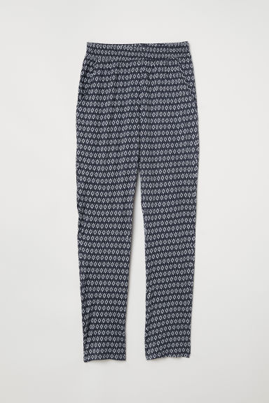 Jersey trousers - Dark blue/Patterned - Ladies | H&M