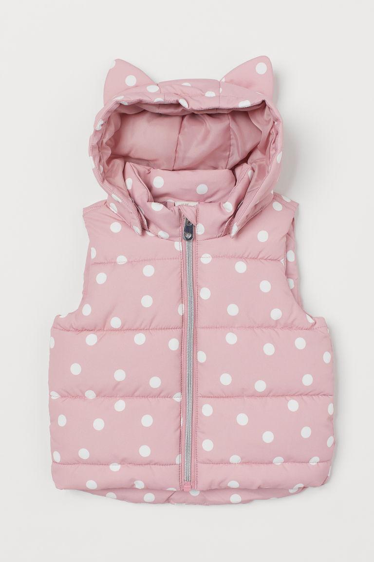Padded gilet - Pink/White spotted - Kids | H&M