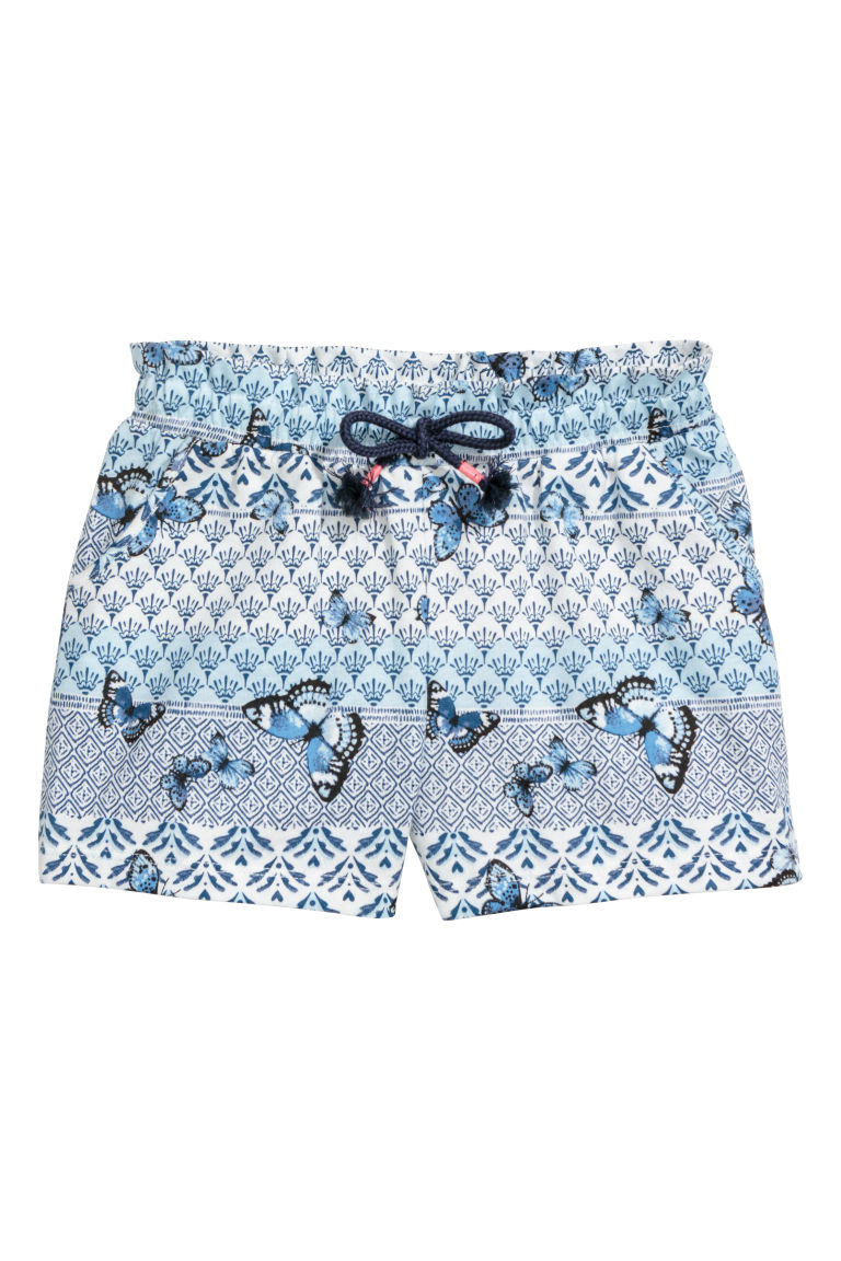 Jersey shorts - White/Blue patterned -  | H&M CN