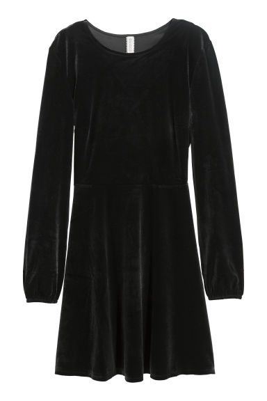 Abito in velour - Nero - DONNA | H&M IT