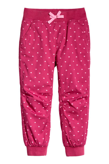 Pull-on trousers - Raspberry pink/Hearts - Kids | H&M