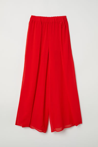 Wide-leg Pants with Slits - Bright red - Ladies | H&M US