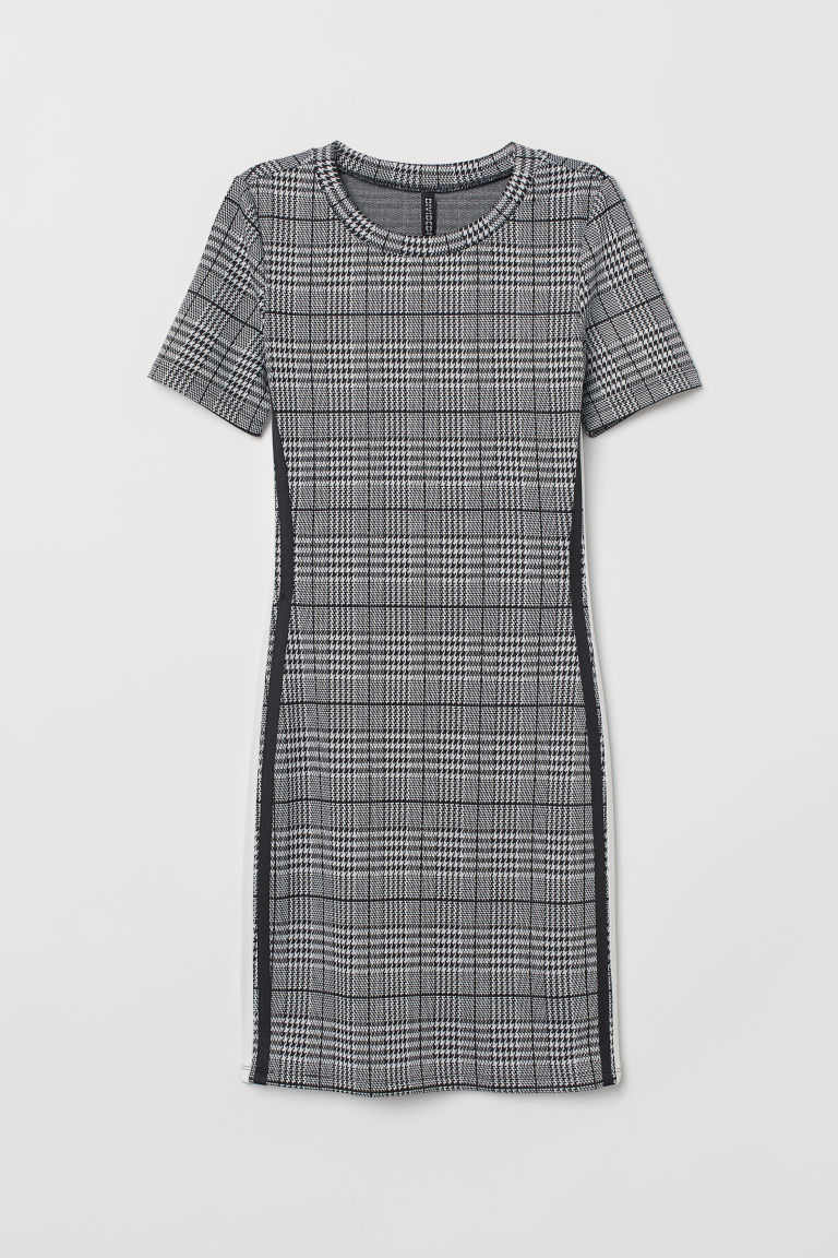 Jersey dress - Black/Dogtooth-patterned -  | H&M IN