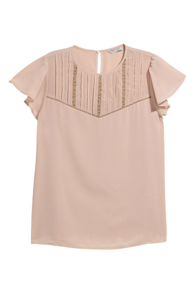 Blouse with pin-tucks - Powder pink - Ladies | H&M CN