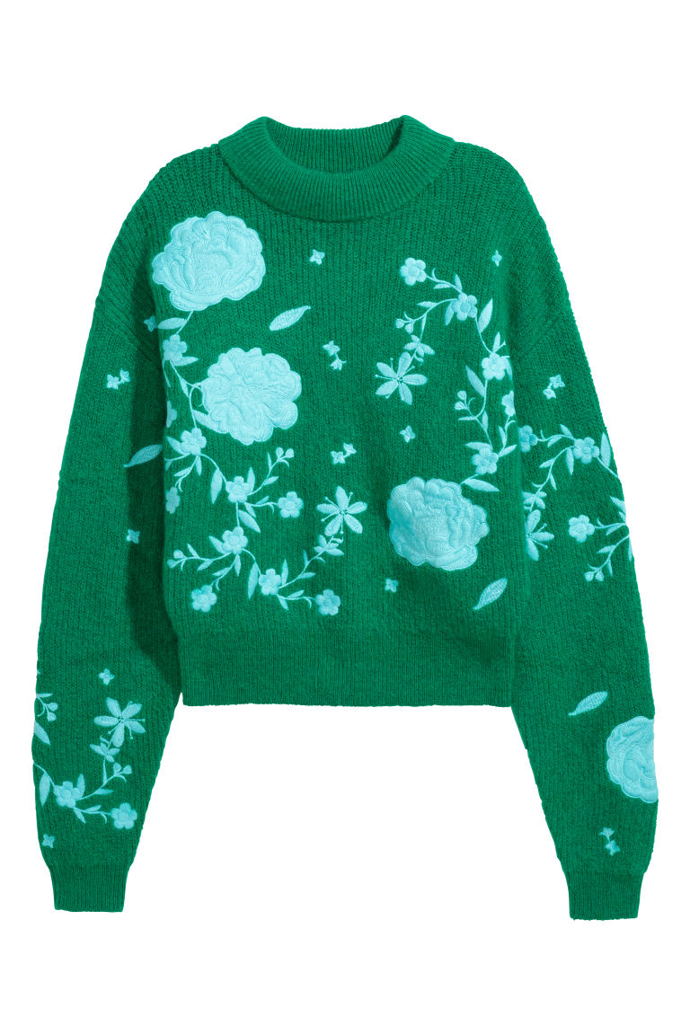 Embroidered mohair-mix jumper - Green/Floral - Ladies | H&M