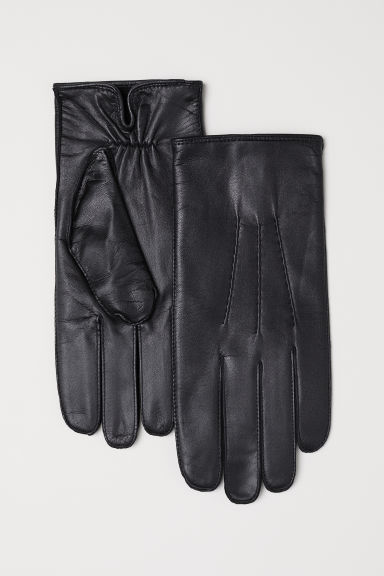 Leather gloves - Black -  | H&M