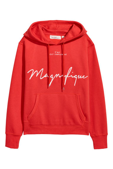 Printed hooded top - Bright red/Magnifique - Ladies | H&M