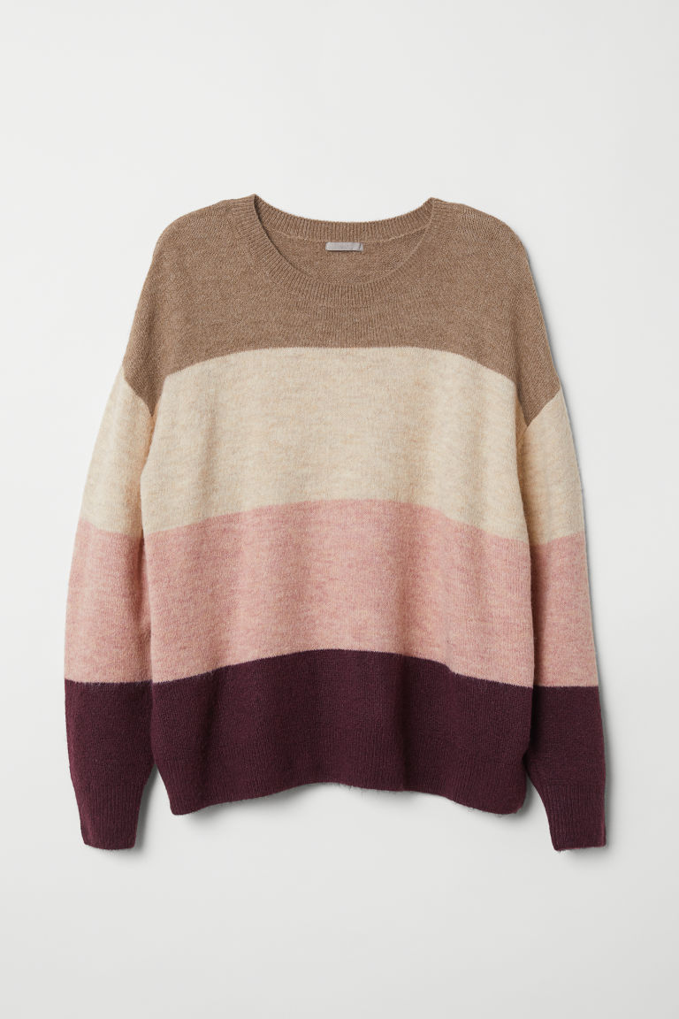 H&M+ Knitted jumper - Beige/Block-coloured - Ladies | H&M