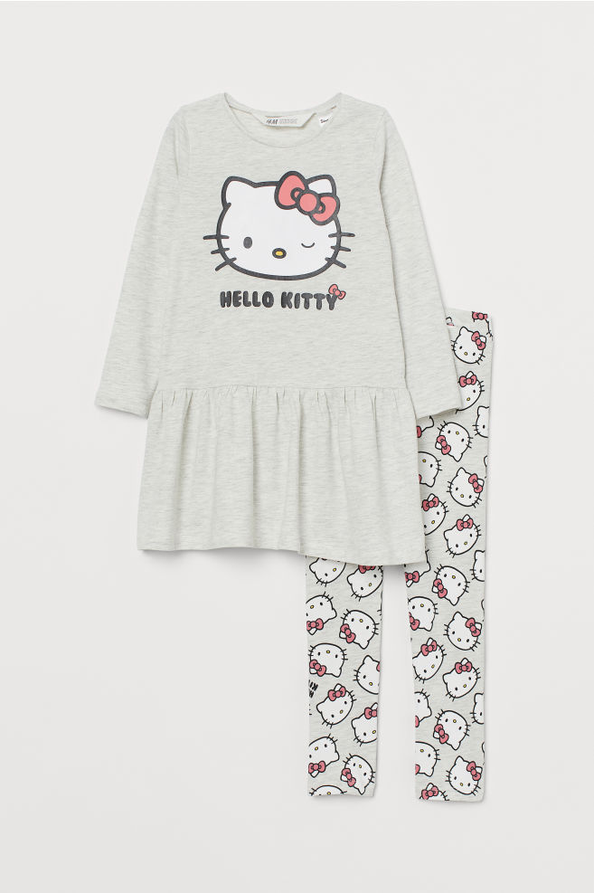 2608aef05 ... Dress and leggings - Light grey marl/Hello Kitty - Kids | H&M ...