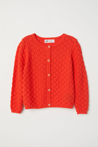 Textured-knit cardigan - Bright red - Kids | H&M CN