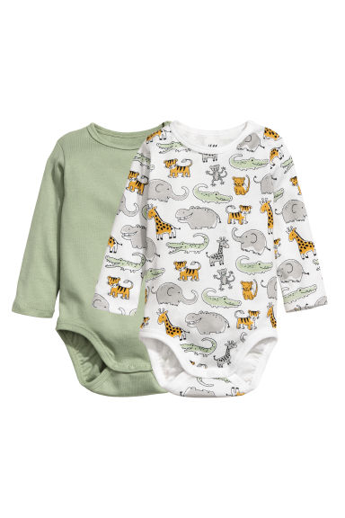 2-pack long-sleeved bodysuits - Light green/Jungle animals - Kids | H&M