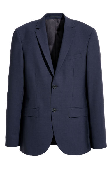 Blazer in lana Slim fit - Blu scuro - UOMO | H&M IT