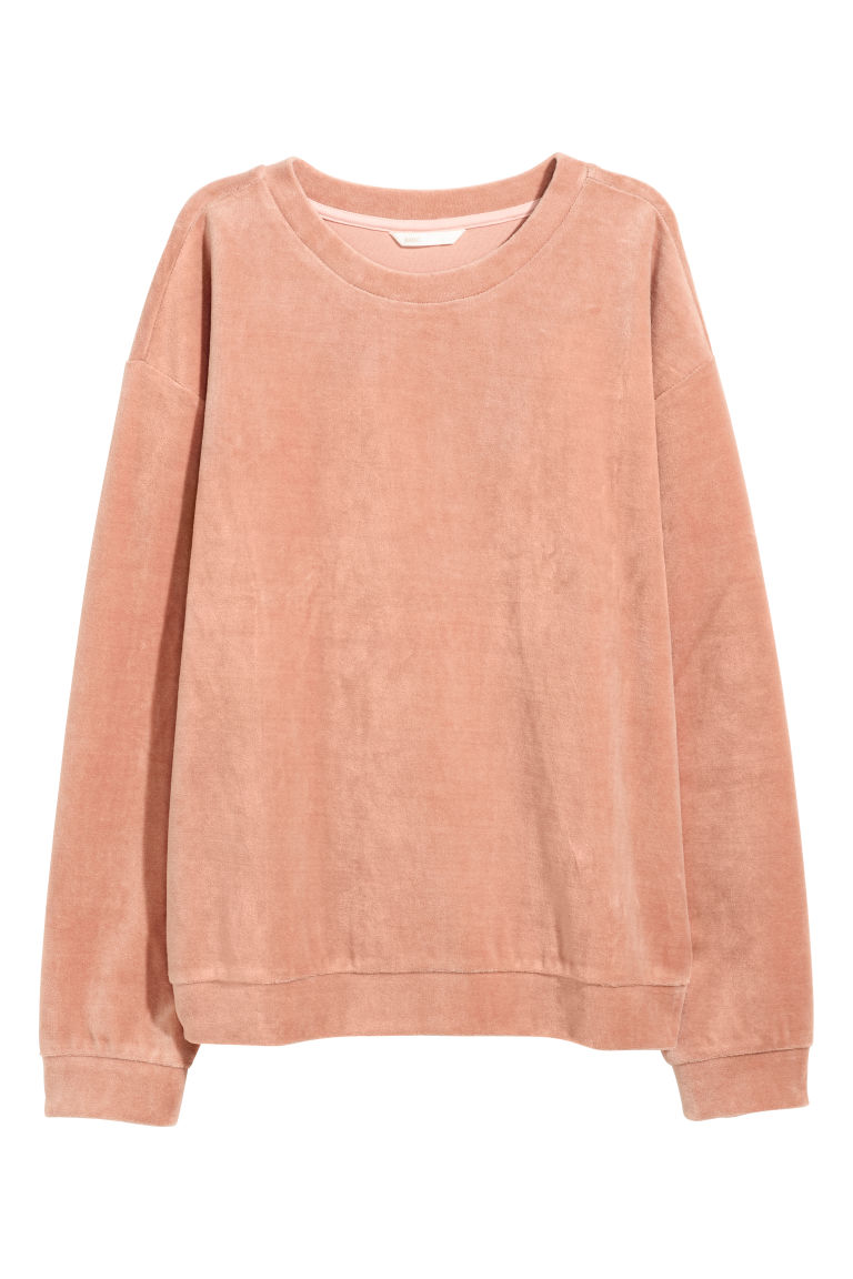 Velour sweatshirt - Dark powder pink -  | H&M CN