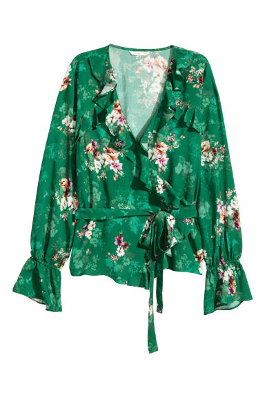 Frilled wrapover blouse - Green/Floral - Ladies | H&M CN