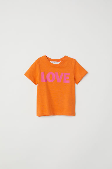 Printed T-shirt - Orange/Love -  | H&M CN